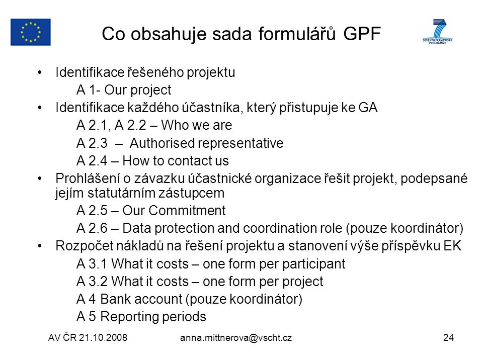 Co obsahuje sada formulářů GPF