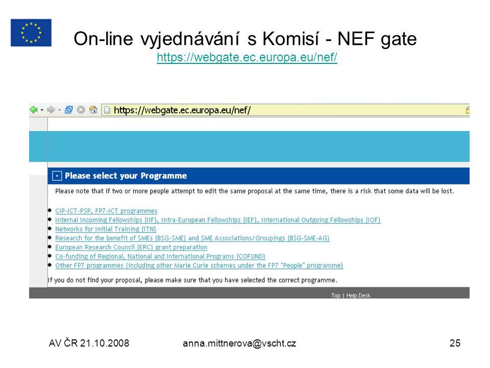 On-line vyjednávání s Komisí - NEF gate https://webgate. ec. europa