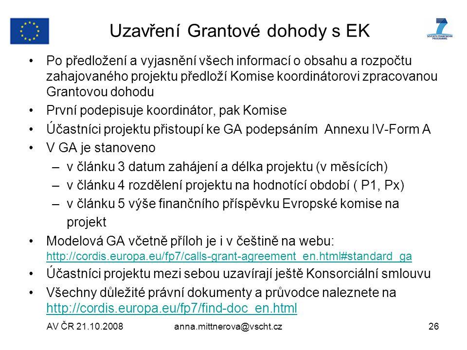 Uzavření Grantové dohody s EK
