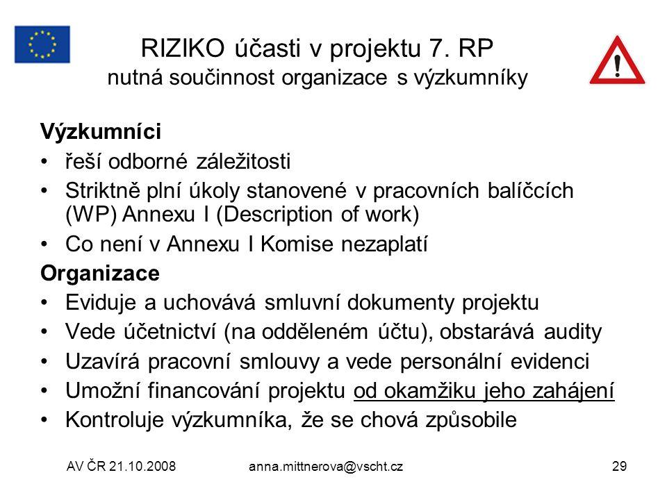 RIZIKO účasti v projektu 7. RP nutná součinnost organizace s výzkumníky