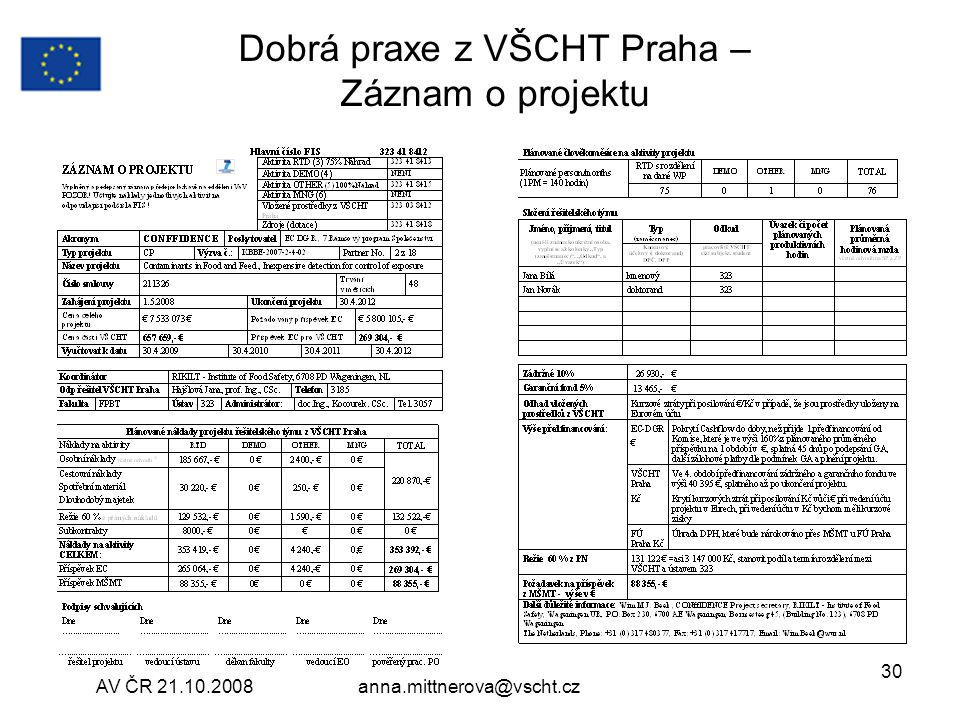 Dobrá praxe z VŠCHT Praha – Záznam o projektu