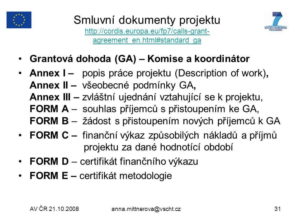 Smluvní dokumenty projektu http://cordis. europa