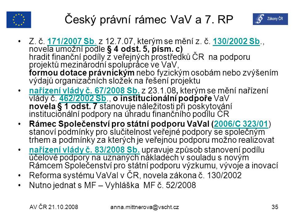 Český právní rámec VaV a 7. RP