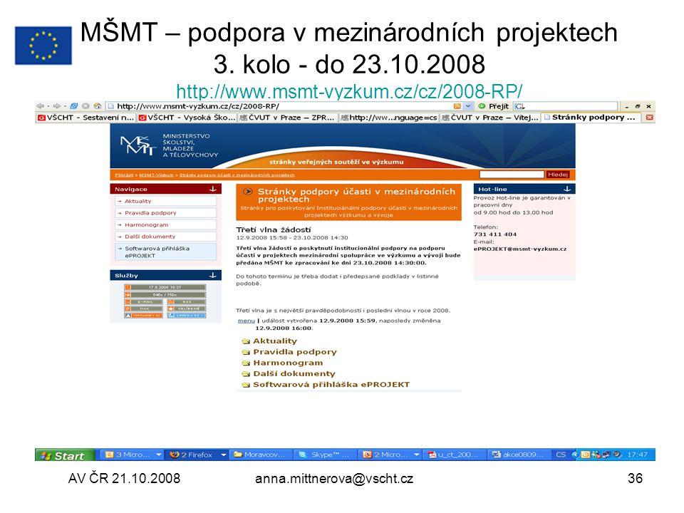 MŠMT – podpora v mezinárodních projektech 3. kolo - do 23. 10