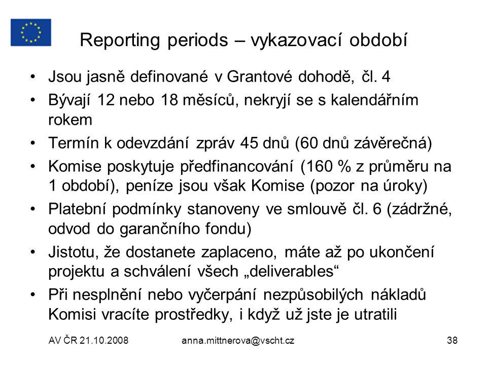 Reporting periods – vykazovací období