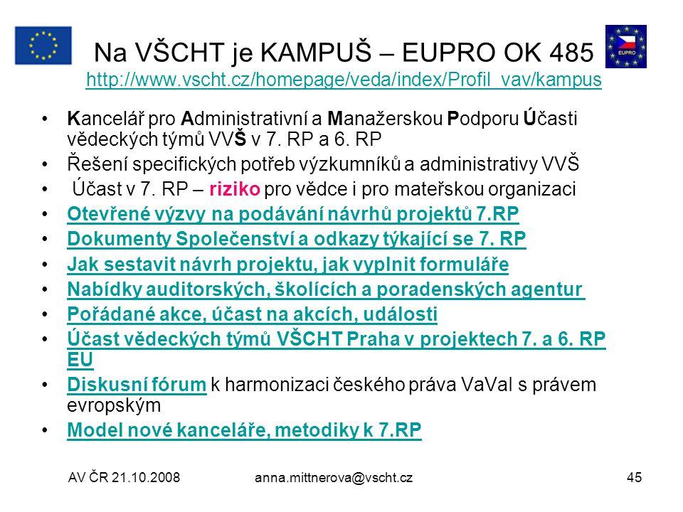 Na VŠCHT je KAMPUŠ – EUPRO OK 485 http://www. vscht