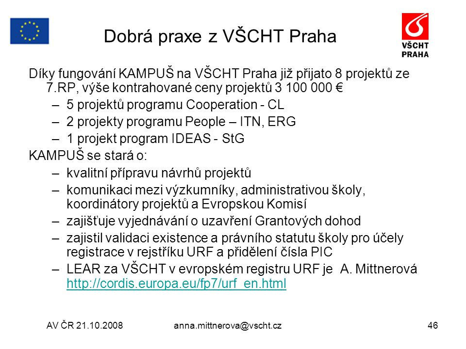 Dobrá praxe z VŠCHT Praha
