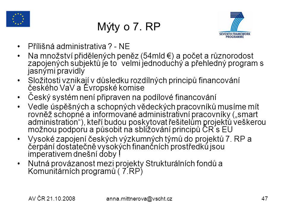 Mýty o 7. RP Přílišná administrativa - NE
