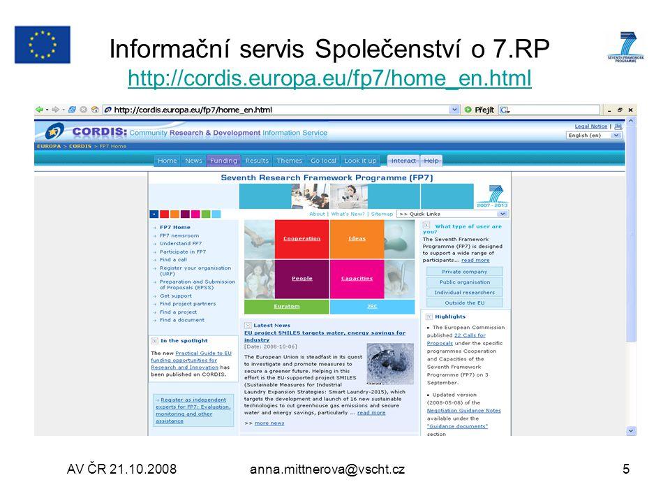 Informační servis Společenství o 7. RP http://cordis. europa