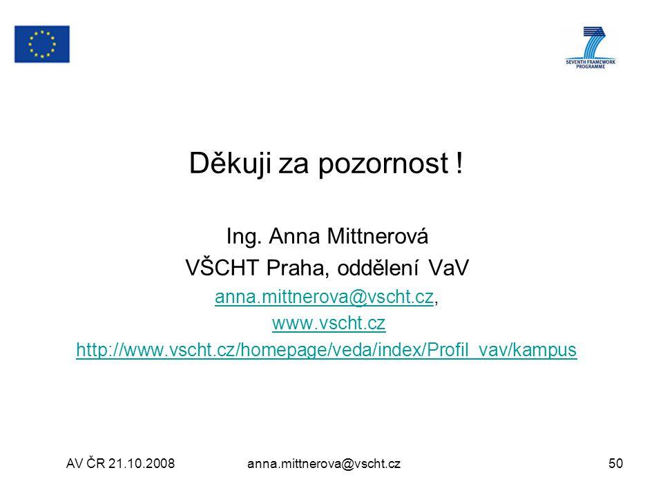 Děkuji za pozornost ! Ing. Anna Mittnerová VŠCHT Praha, oddělení VaV