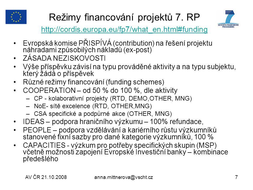 Režimy financování projektů 7. RP http://cordis.europa.eu/fp7/what_en.html#funding