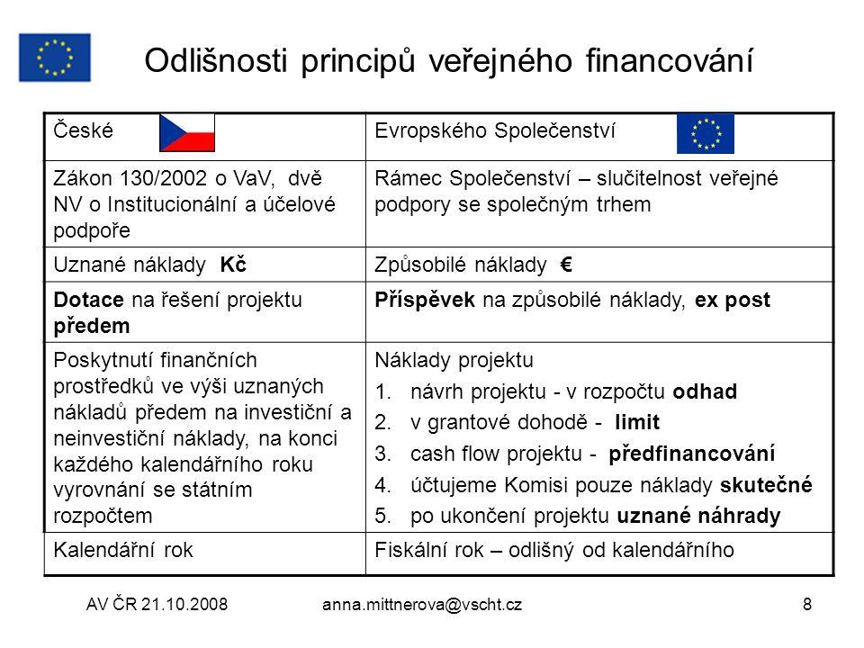 Odlišnosti principů veřejného financování