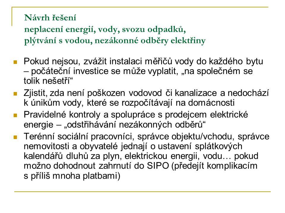 Návrh řešení neplacení energií, vody, svozu odpadků, plýtvání s vodou, nezákonné odběry elektřiny