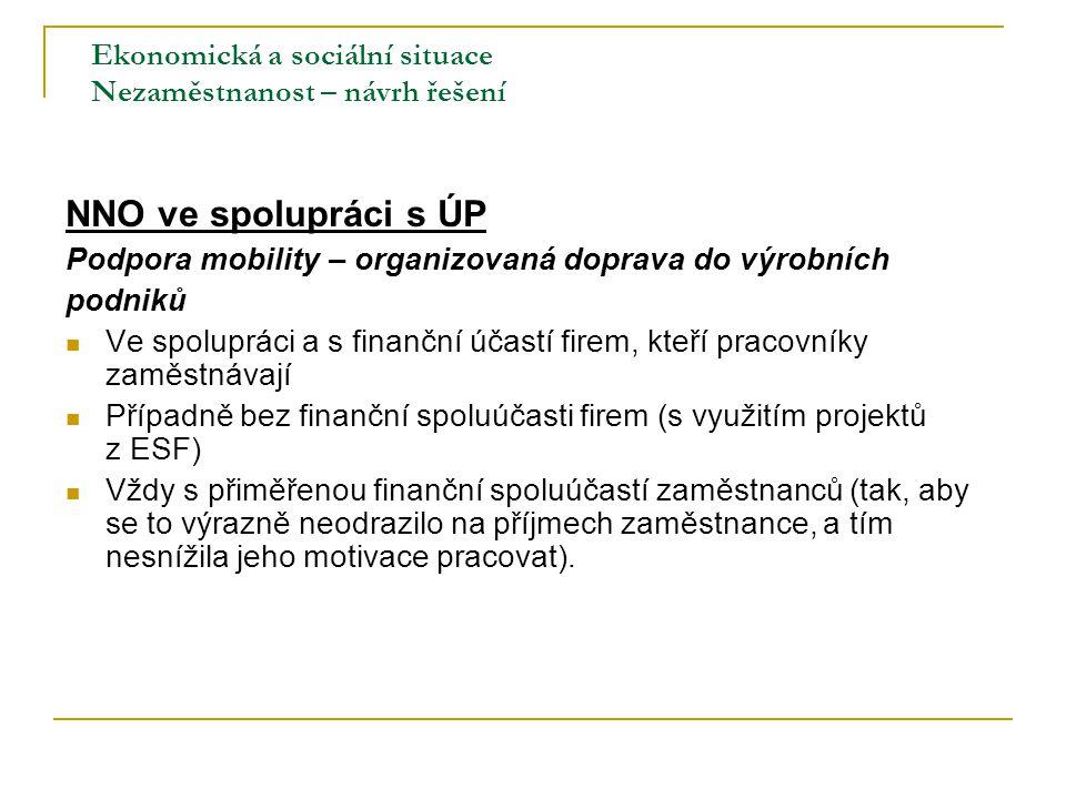 Ekonomická a sociální situace Nezaměstnanost – návrh řešení