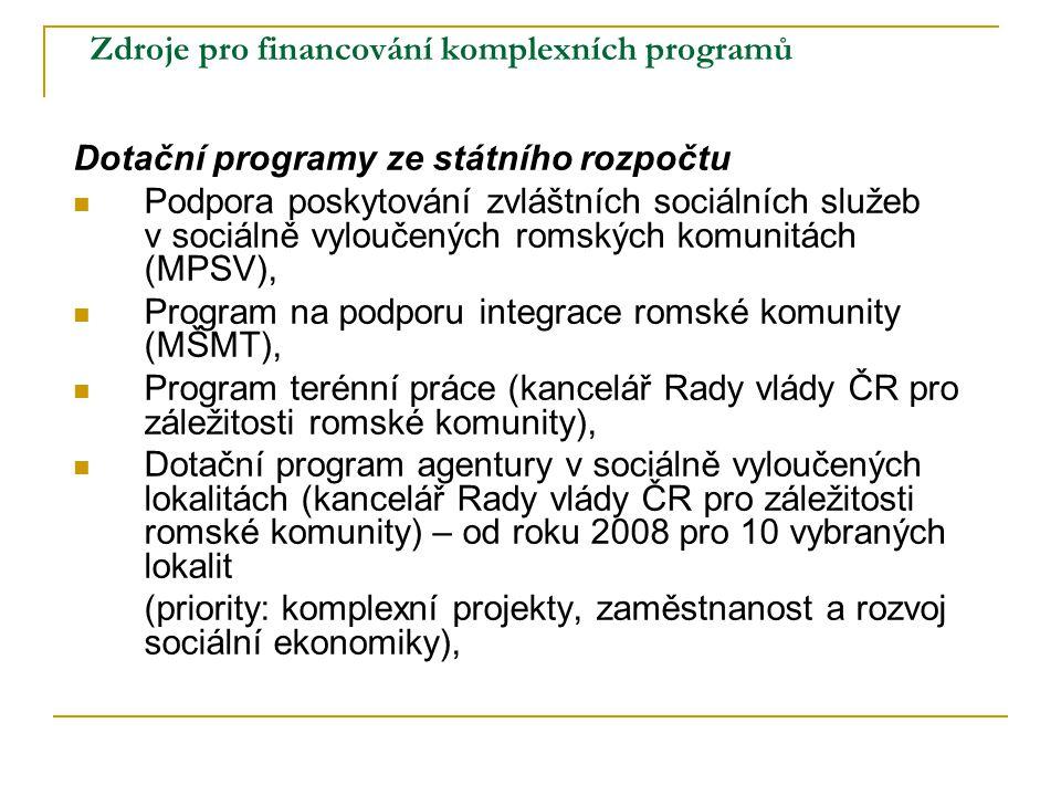 Zdroje pro financování komplexních programů