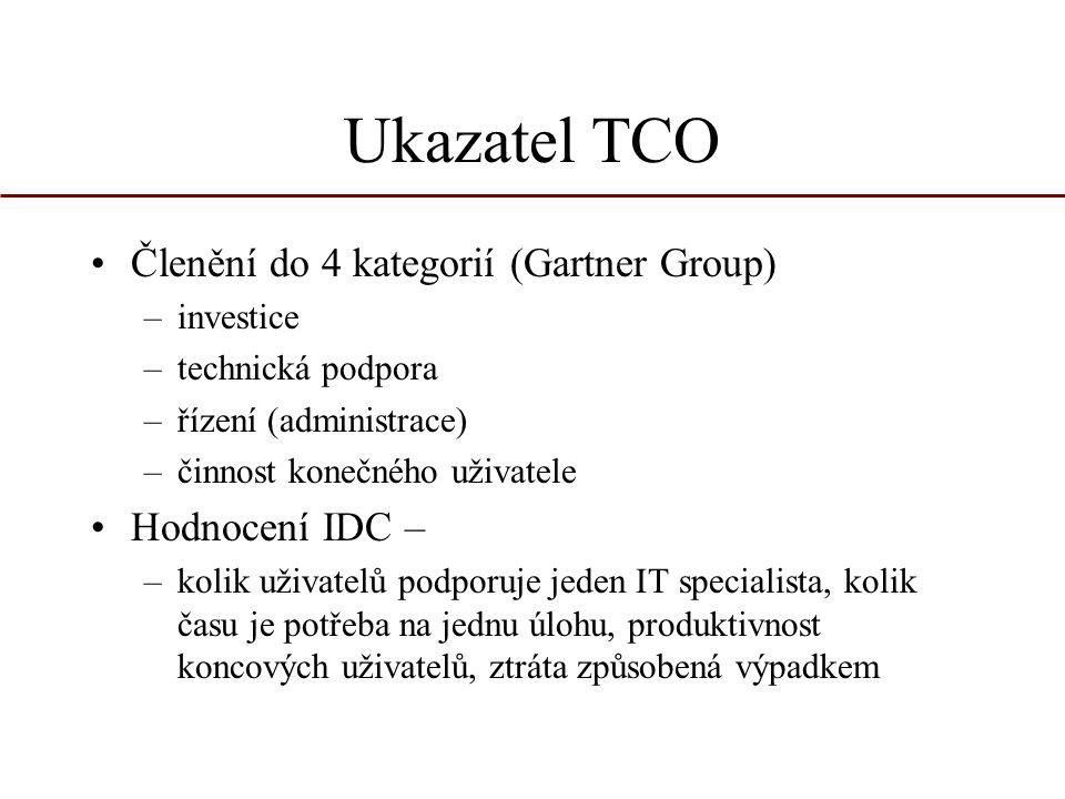 Ukazatel TCO Členění do 4 kategorií (Gartner Group) Hodnocení IDC –