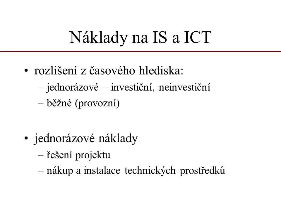 Náklady na IS a ICT rozlišení z časového hlediska: jednorázové náklady