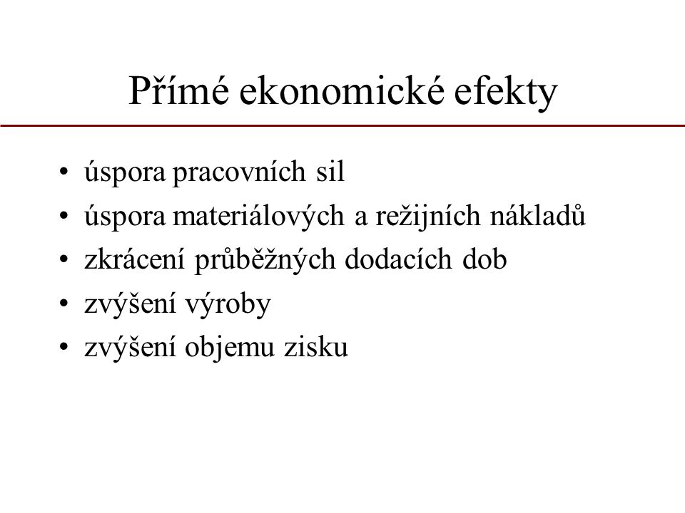 Přímé ekonomické efekty