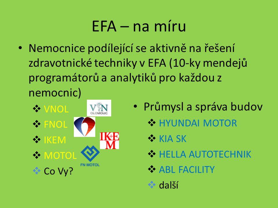 EFA – na míru Nemocnice podílející se aktivně na řešení zdravotnické techniky v EFA (10-ky mendejů programátorů a analytiků pro každou z nemocnic)