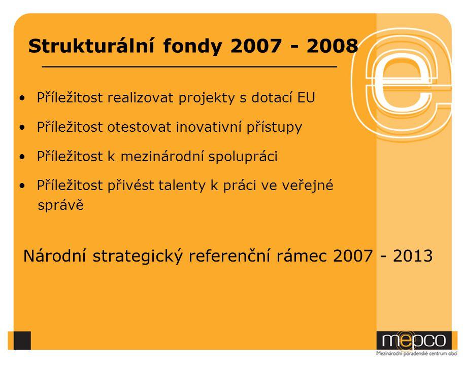 Strukturální fondy 2007 - 2008 Příležitost realizovat projekty s dotací EU. Příležitost otestovat inovativní přístupy.