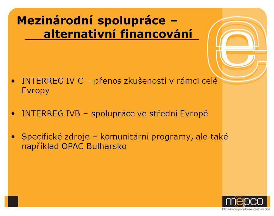 Mezinárodní spolupráce – alternativní financování