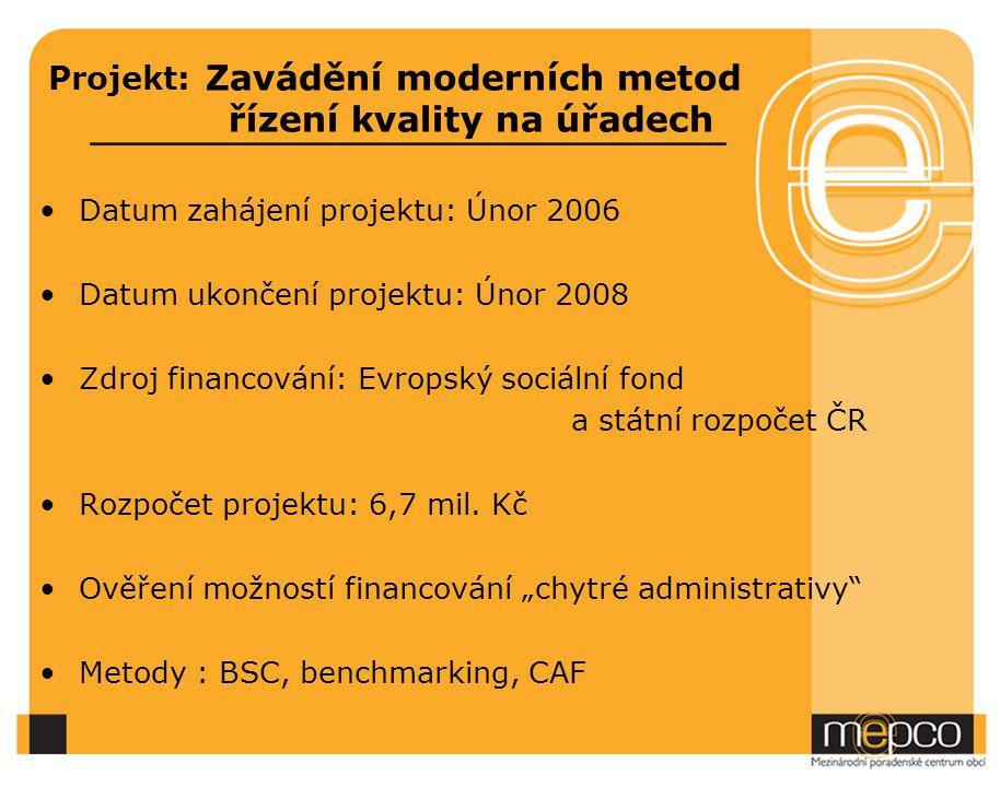 Projekt: Zavádění moderních metod řízení kvality na úřadech