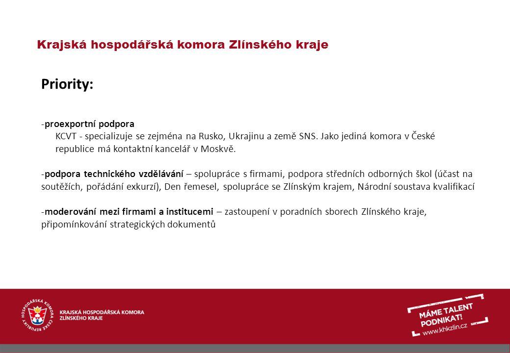 Priority: Krajská hospodářská komora Zlínského kraje