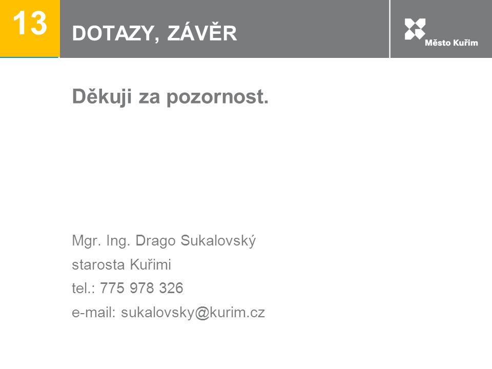 13 DOTAZY, ZÁVĚR Děkuji za pozornost. Mgr. Ing. Drago Sukalovský