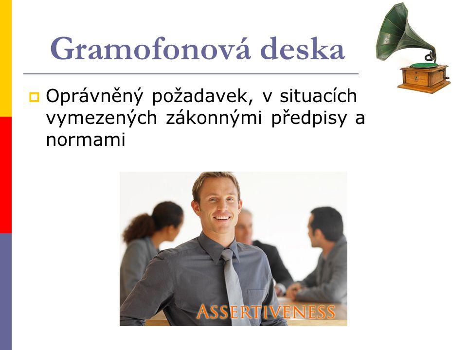 Gramofonová deska Oprávněný požadavek, v situacích vymezených zákonnými předpisy a normami