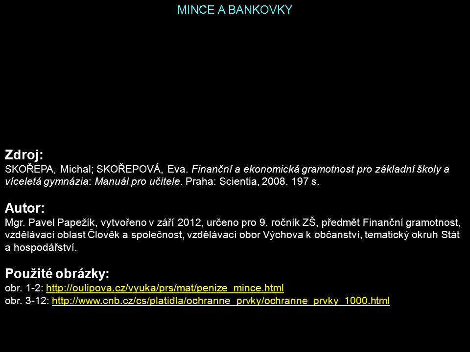 Zdroj: Autor: Použité obrázky: MINCE A BANKOVKY