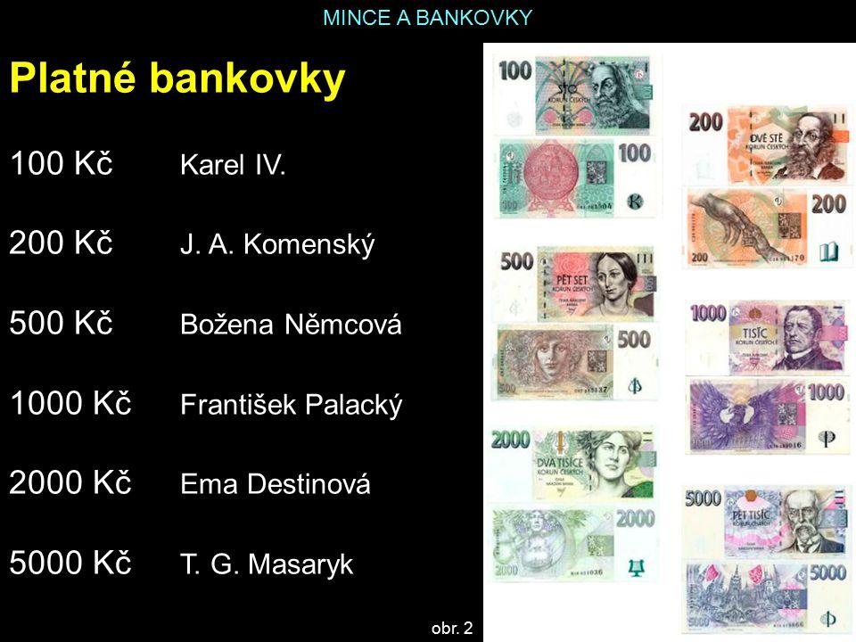 Platné bankovky 100 Kč Karel IV. 200 Kč J. A. Komenský