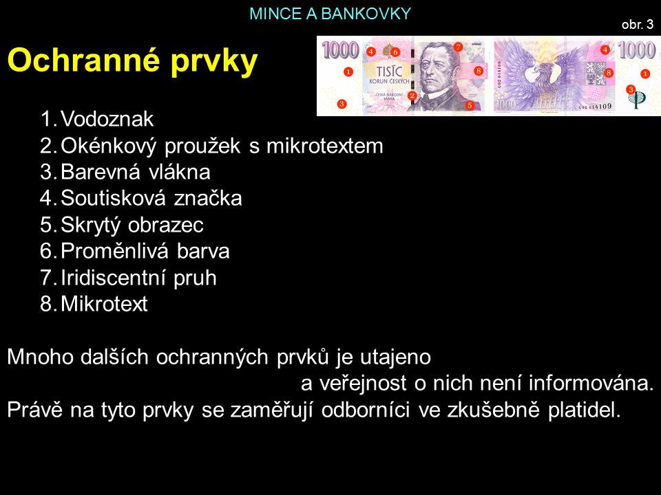 Ochranné prvky Vodoznak Okénkový proužek s mikrotextem Barevná vlákna