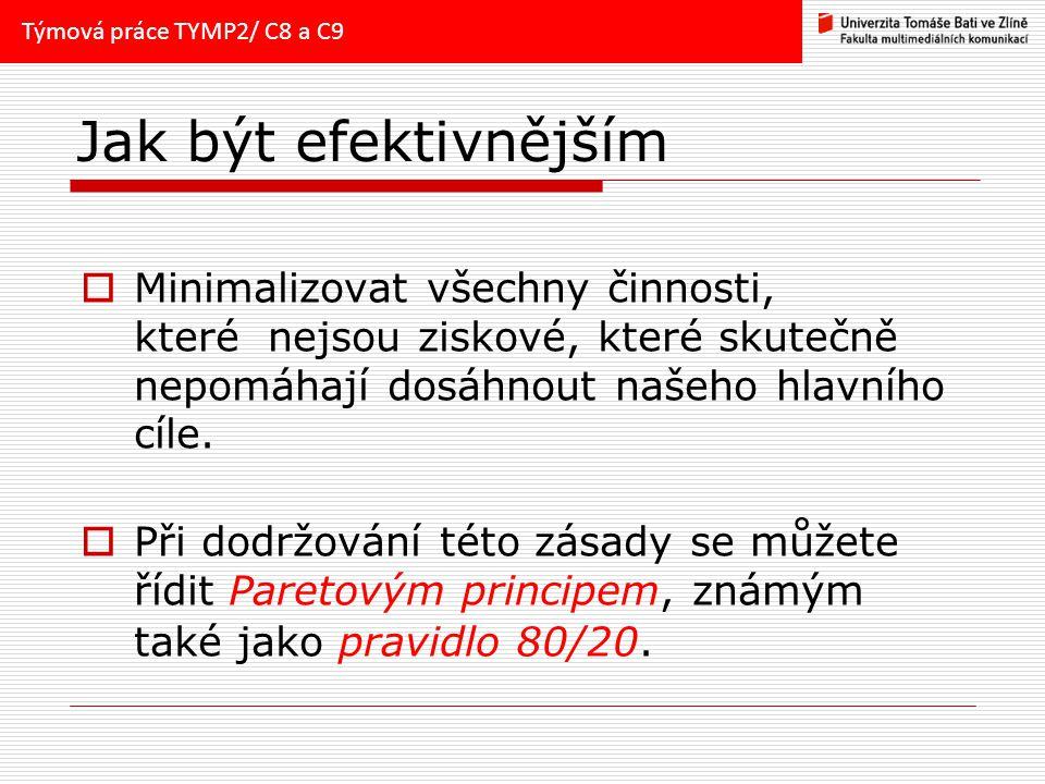 Týmová práce TYMP2/ C8 a C9 Jak být efektivnějším.