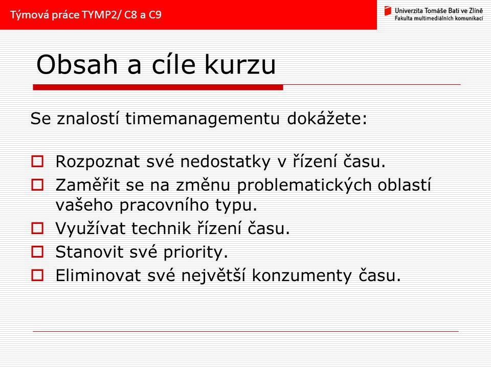 Obsah a cíle kurzu Se znalostí timemanagementu dokážete: