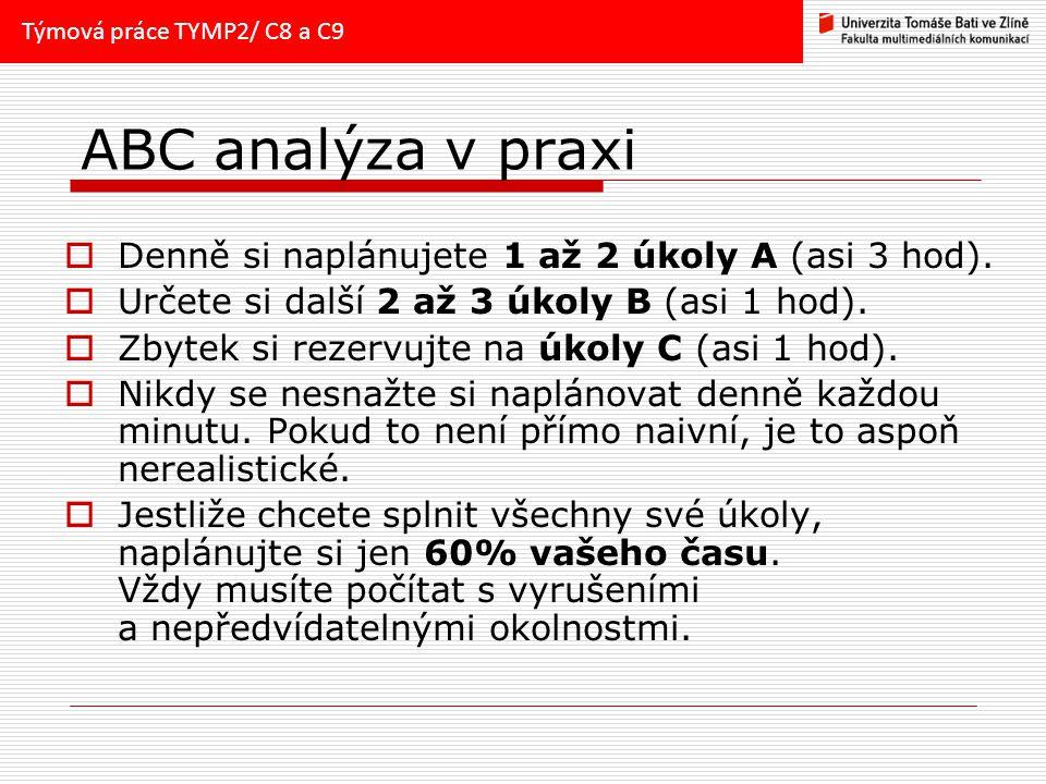 ABC analýza v praxi Denně si naplánujete 1 až 2 úkoly A (asi 3 hod).