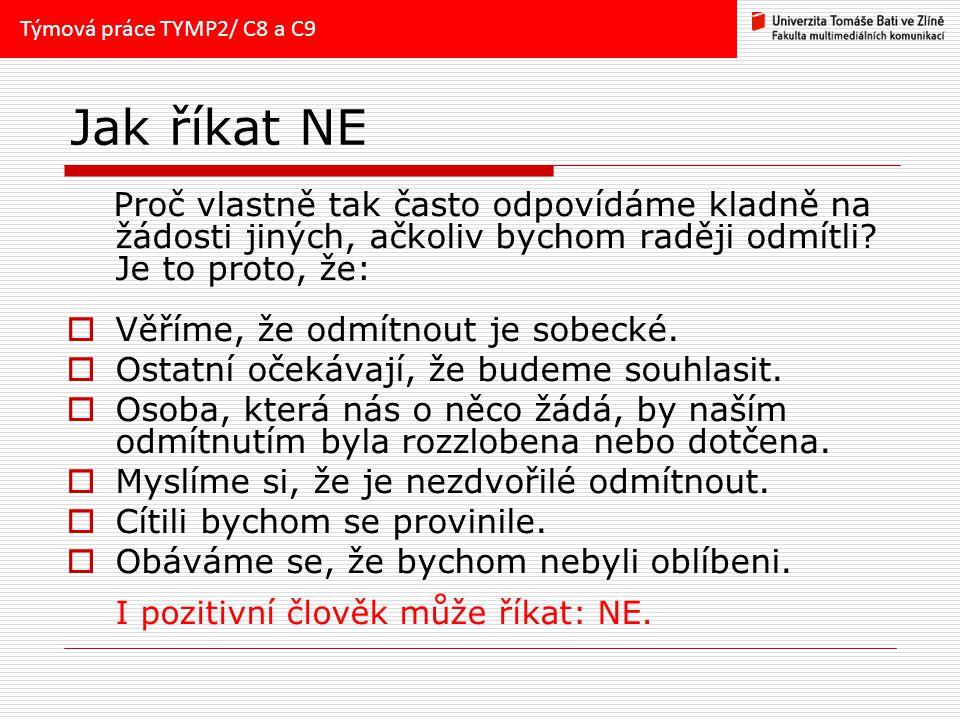 Týmová práce TYMP2/ C8 a C9 Jak říkat NE.