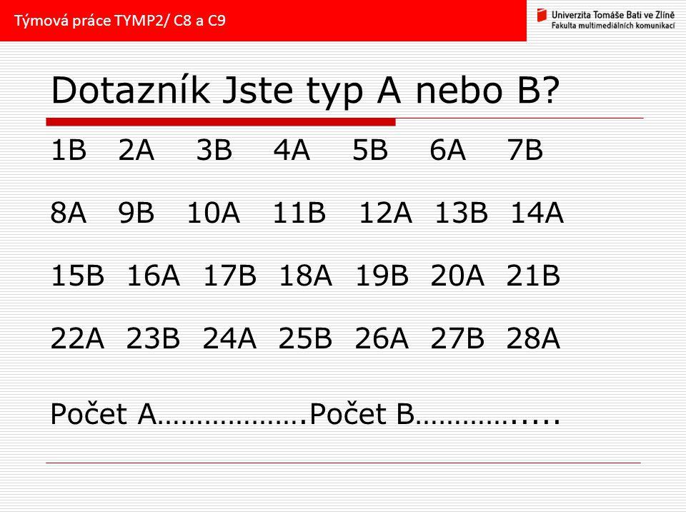 Dotazník Jste typ A nebo B