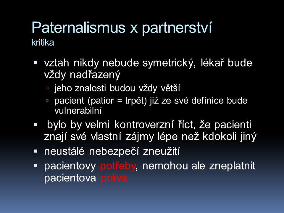 Paternalismus x partnerství kritika