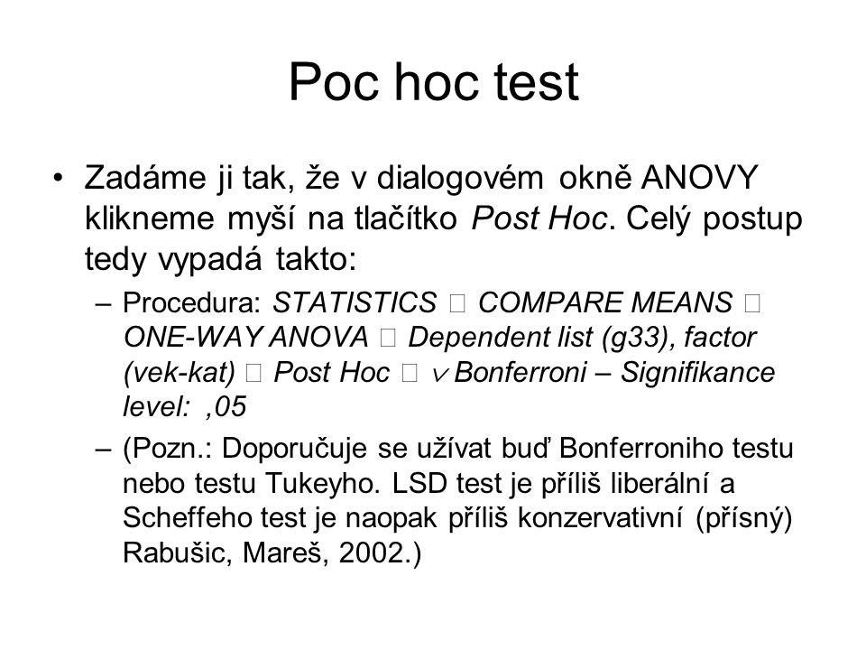Poc hoc test Zadáme ji tak, že v dialogovém okně ANOVY klikneme myší na tlačítko Post Hoc. Celý postup tedy vypadá takto:
