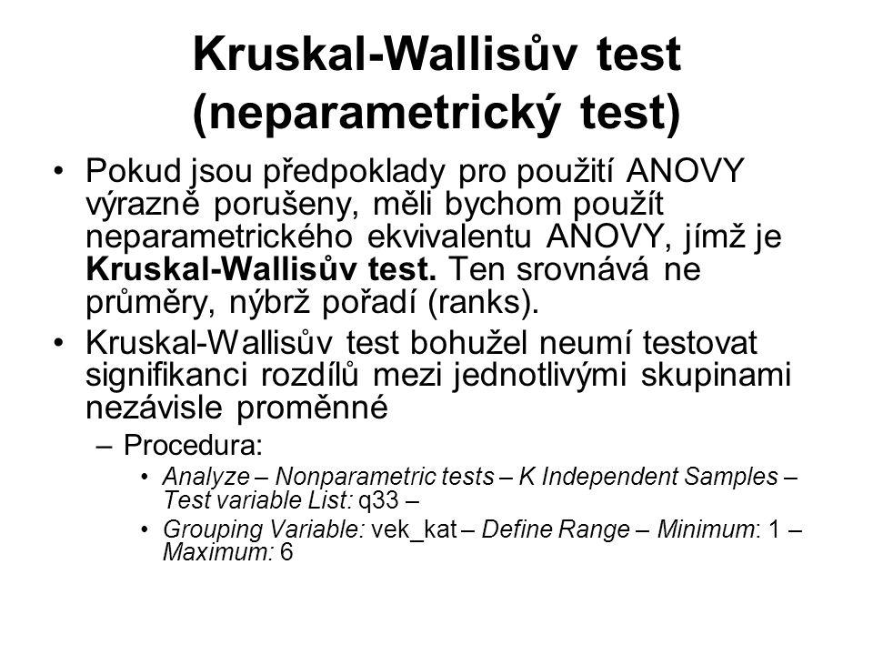 Kruskal-Wallisův test (neparametrický test)