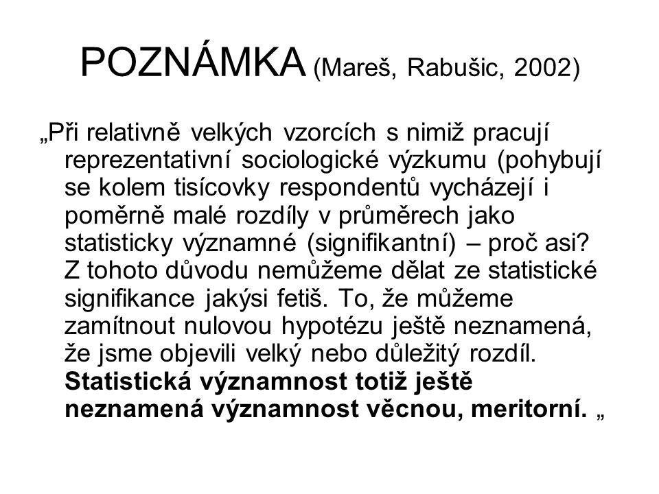 POZNÁMKA (Mareš, Rabušic, 2002)