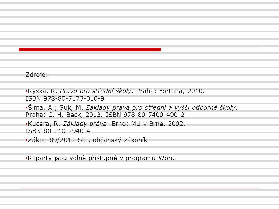 Zdroje: Ryska, R. Právo pro střední školy. Praha: Fortuna, 2010. ISBN 978-80-7173-010-9.
