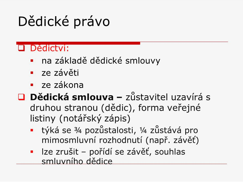 Dědické právo Dědictví: