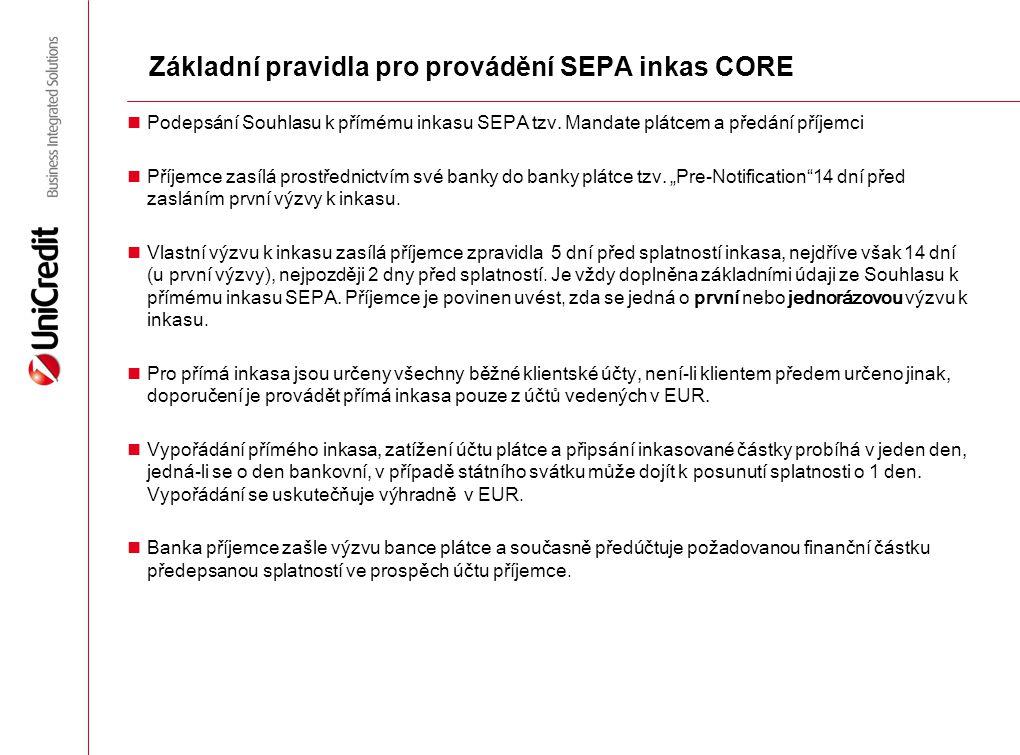 Základní pravidla pro provádění SEPA inkas CORE