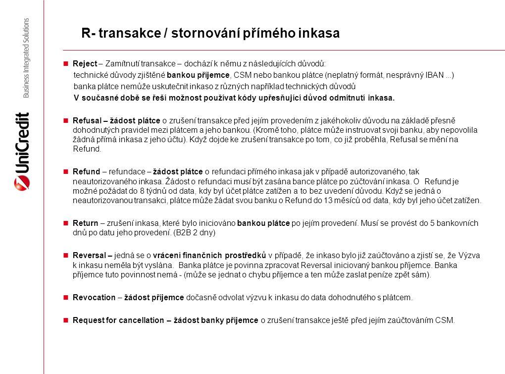 R- transakce / stornování přímého inkasa