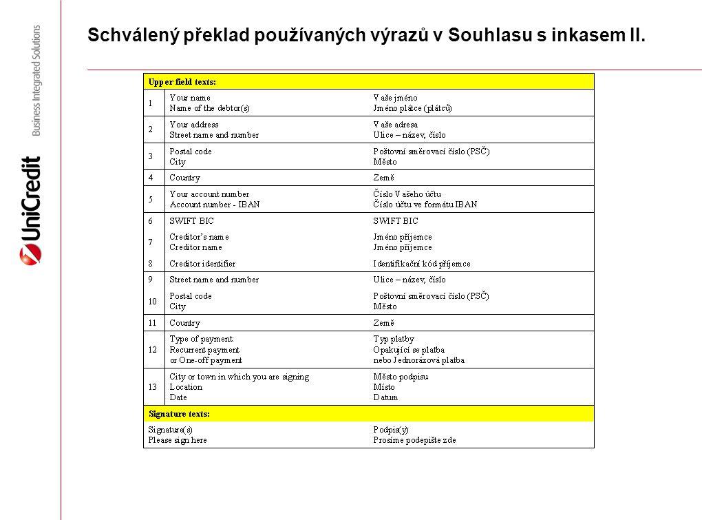 Schválený překlad používaných výrazů v Souhlasu s inkasem II.