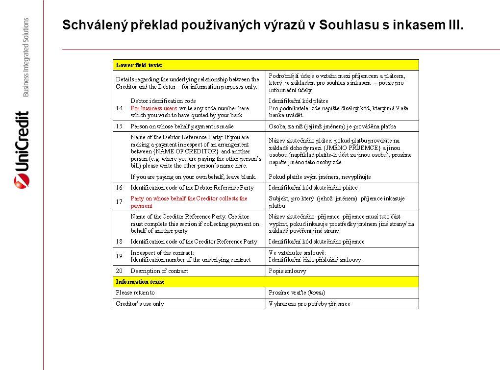 Schválený překlad používaných výrazů v Souhlasu s inkasem III.