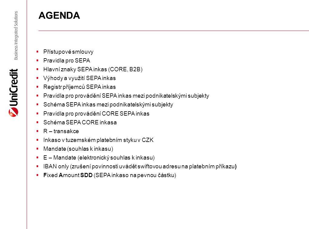 AGENDA Přístupové smlouvy Pravidla pro SEPA
