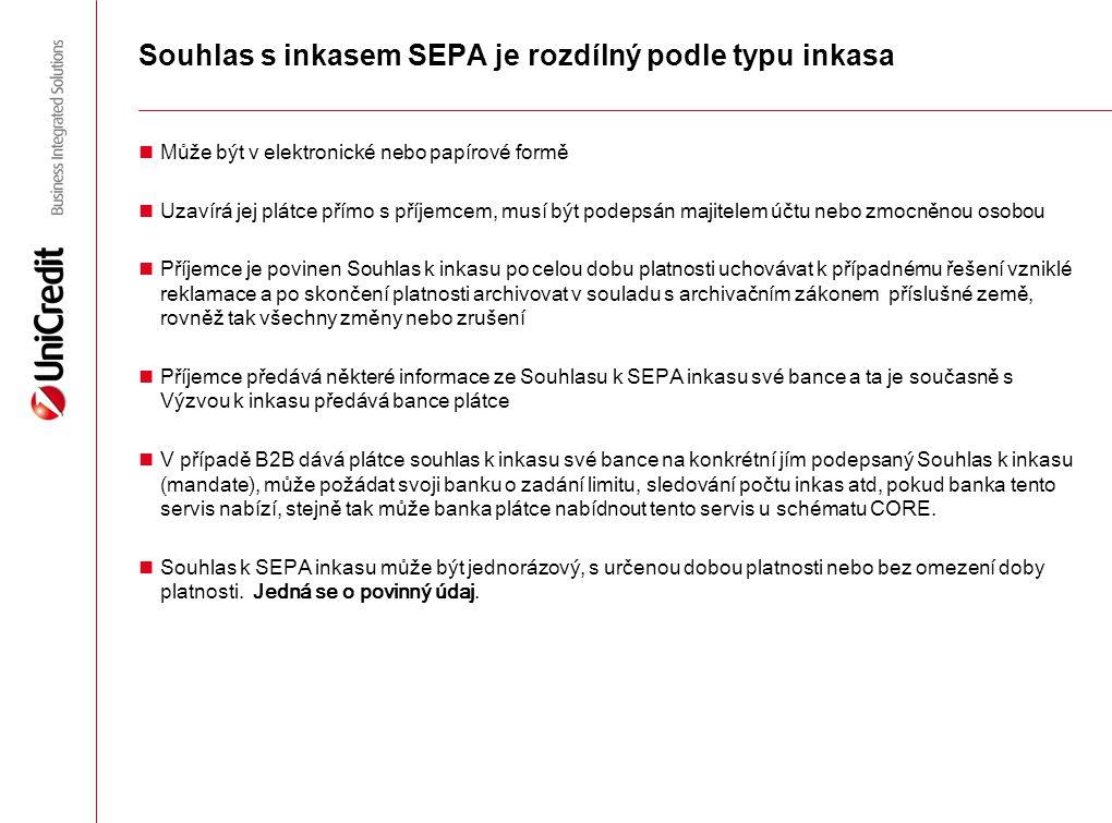 Souhlas s inkasem SEPA je rozdílný podle typu inkasa
