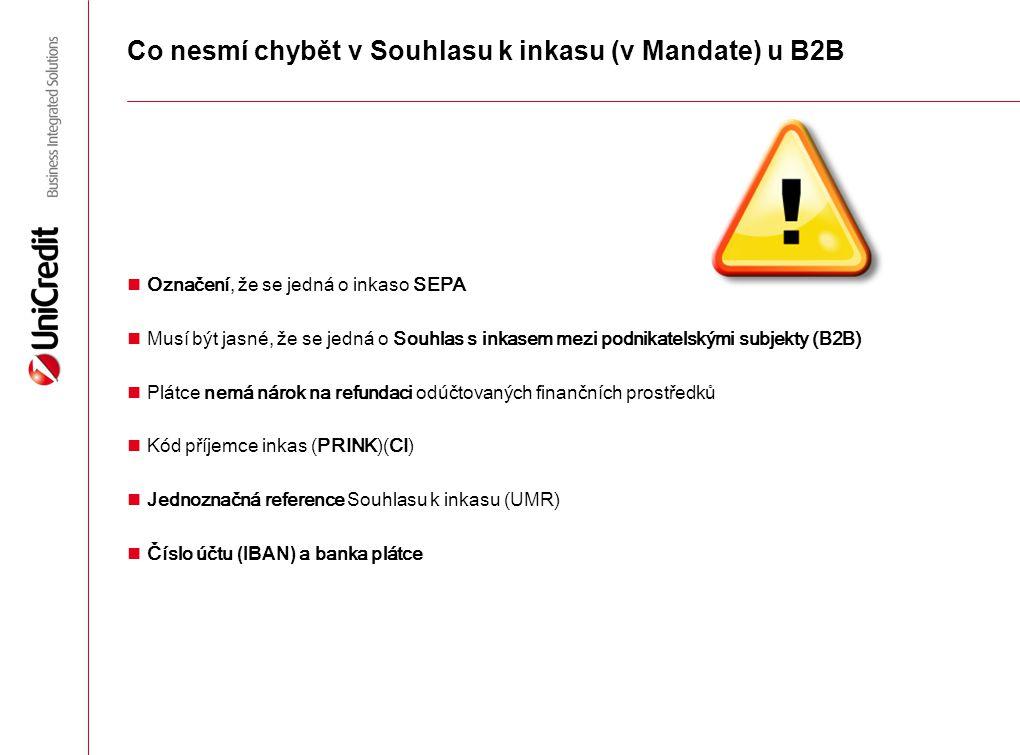 Co nesmí chybět v Souhlasu k inkasu (v Mandate) u B2B